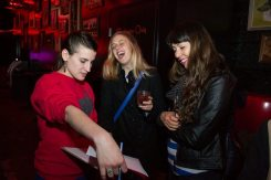 Guests checking in at Slippery Slope before heading for the dance floor. Photo: Elisa Fritz