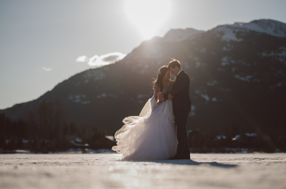 winter wedding couple on a frozenlake