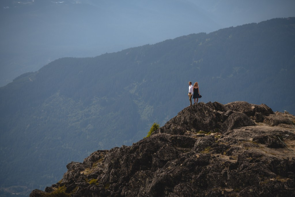 A couple standing on the peak of Whistler Blackcomb