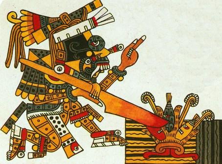 Aztec god Taloc planting corn with his stick