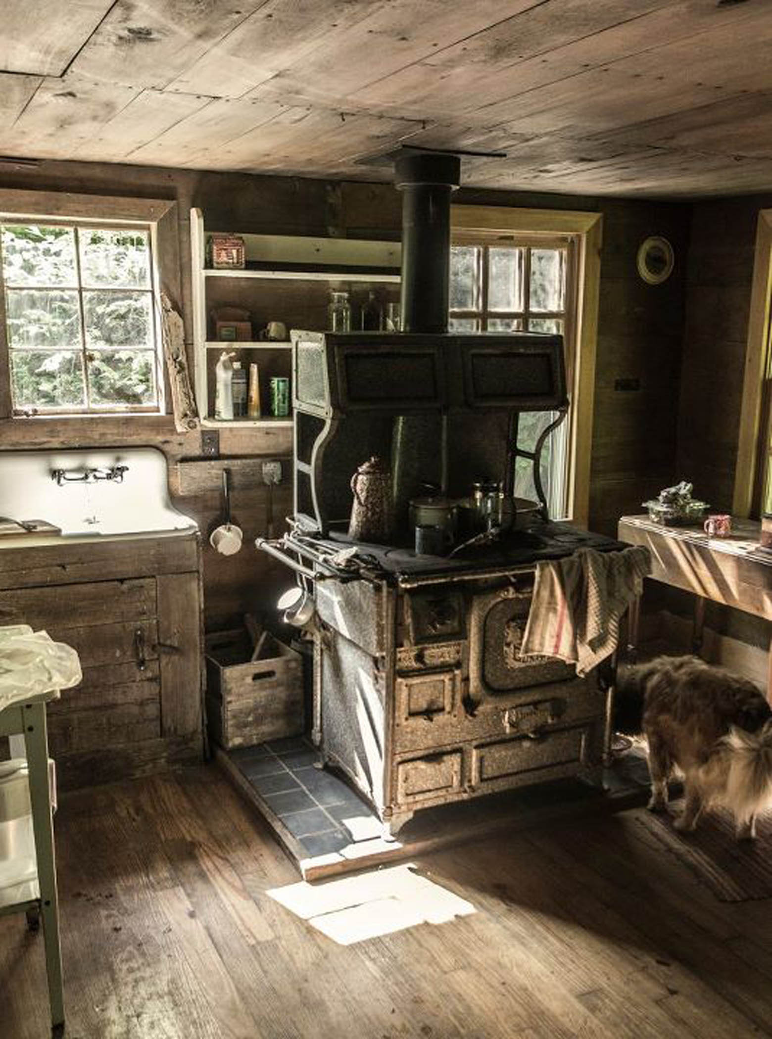 Our messy cabin kitchen photo by wes erbsen  Log Cabin