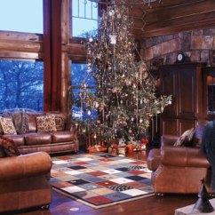 Log Home Living Room Decorating Ideas Small Apartment A In Colorado Photos Christmas Decor Adorns This