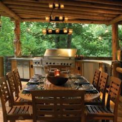 Outside Kitchen Antique Furniture How To Create The Perfect Outdoor For Your Log Home In