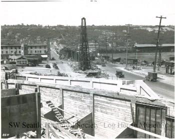 The corner of Spokane Street and Delridge Way, facing west, in 1930