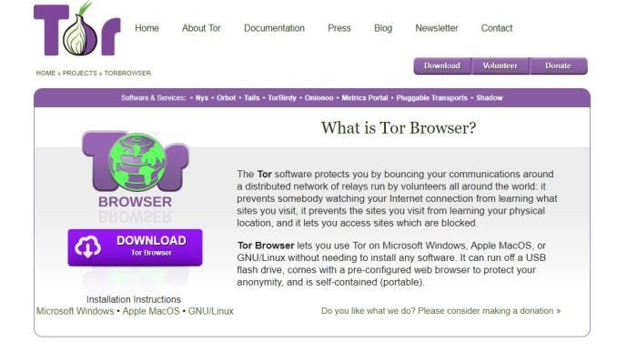 Скриншот сайта Tor Project