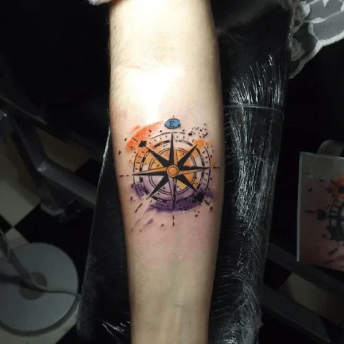 Tatuaje De La Rosa De Los Vientos Logia Tattoo Barcelona