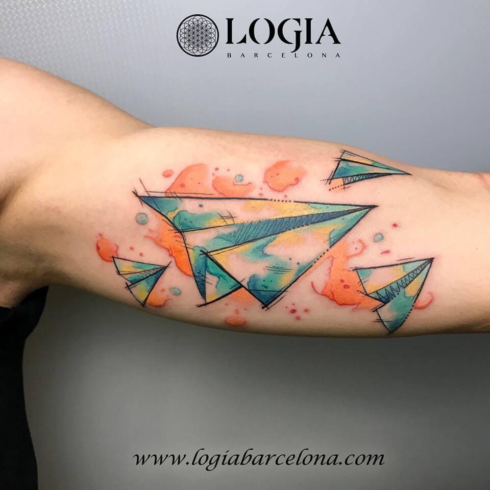 Tatuajes De Aviones De Papel Y Barcos De Papel Logia Tattoo Barcelona