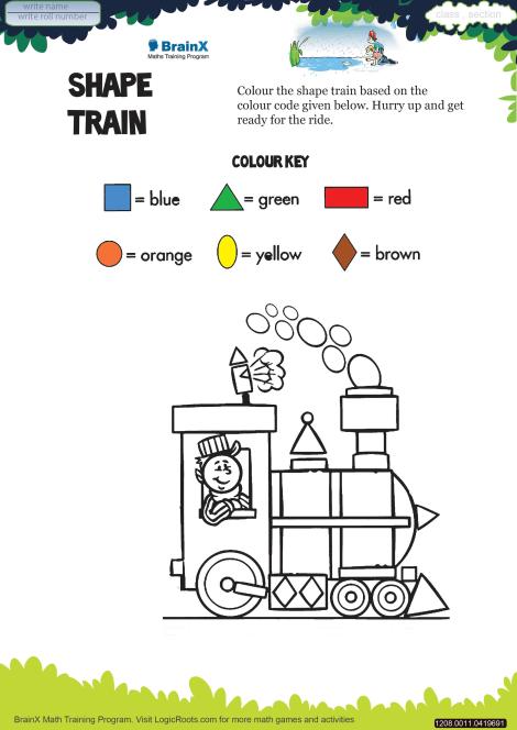 Shape Train Math Worksheet For Kindergarten