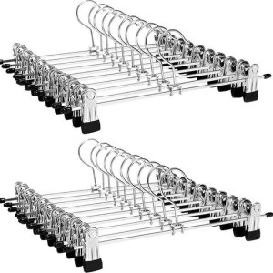 LifeGoods 20x Broekhangers met Verstelbare Antislip Knijpers – Stevige Kleding Hanger met Klemmen – Kleerhanger voor Dames/Heren/Kind/Baby – Broek en Rok Houder – Metaal
