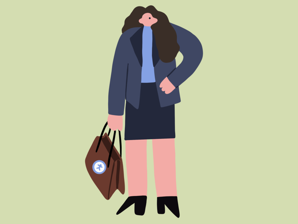 illustration of a person in a shirt and blazer carrying a bag with the accessibility logo on it