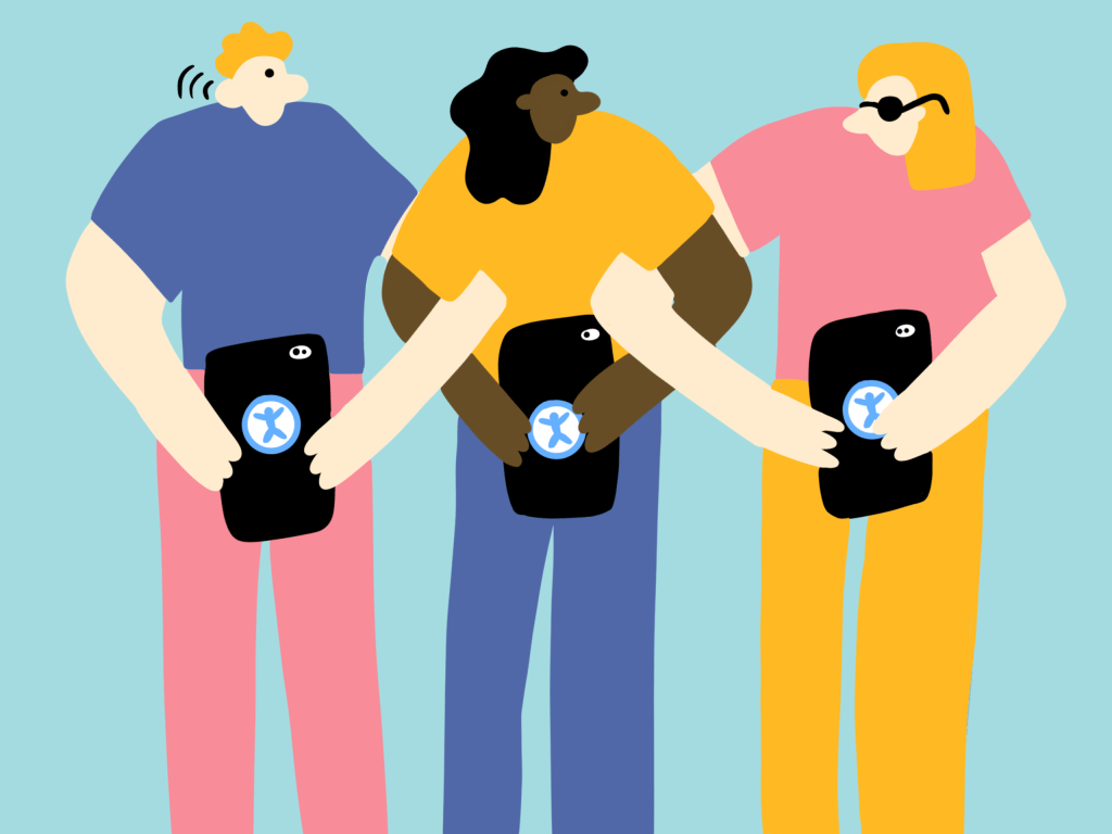 illustration of three people holding phones with accessibility logo on the back of each phone