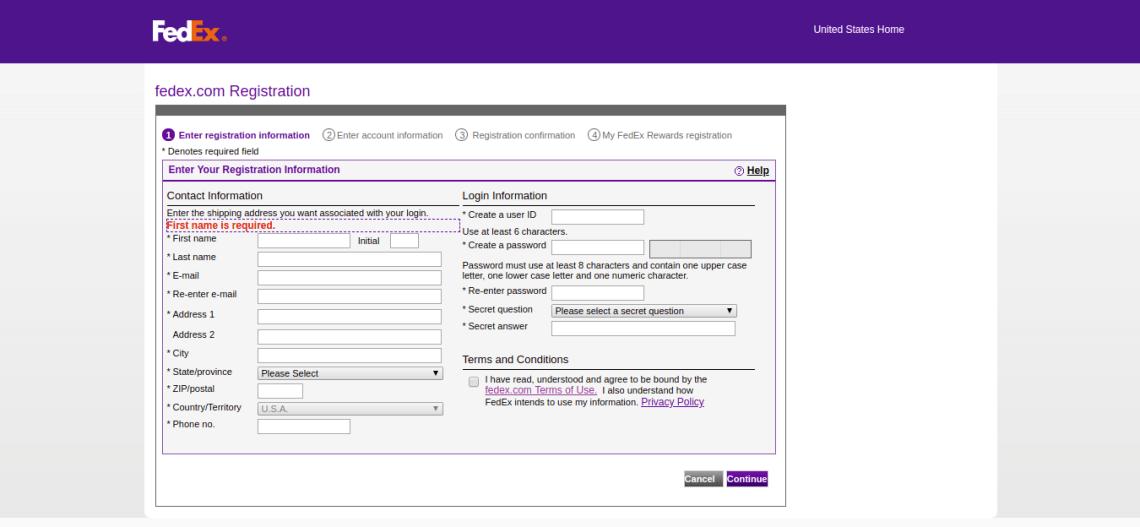 fedex com Registration open