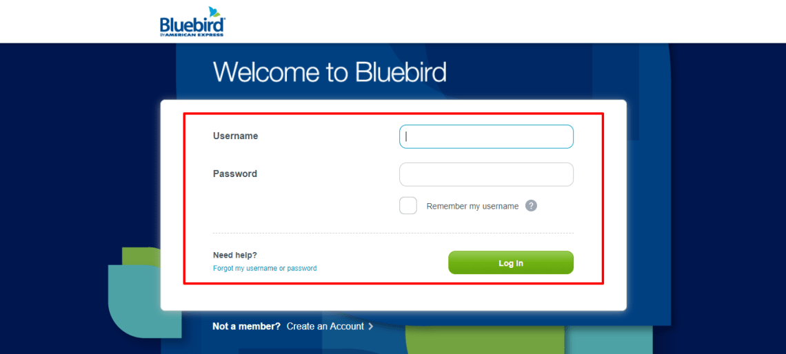 Log In Bluebird from American Express