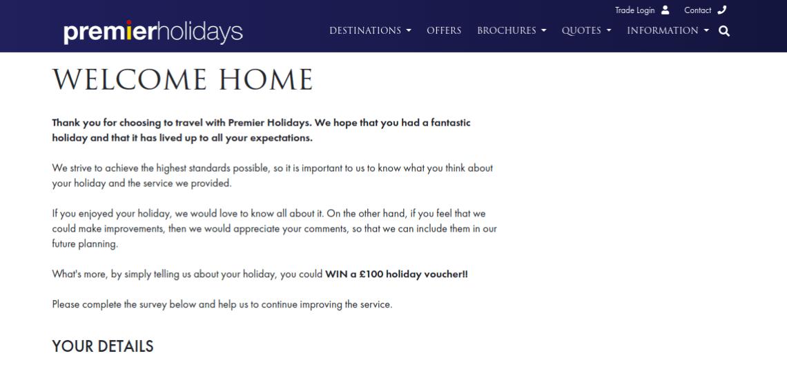 Premier Holidays Survey