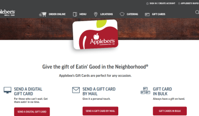 Applebee s Restaurant Gift Card