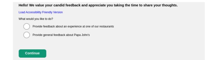 Papa Johns Survey