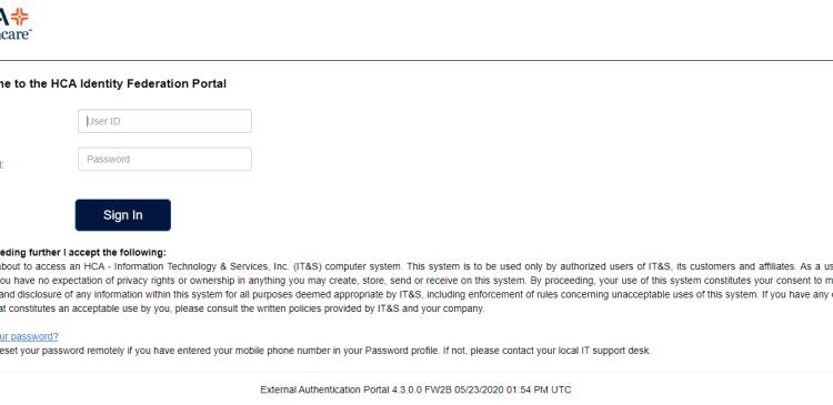 HCA Identity Federation Portal Login