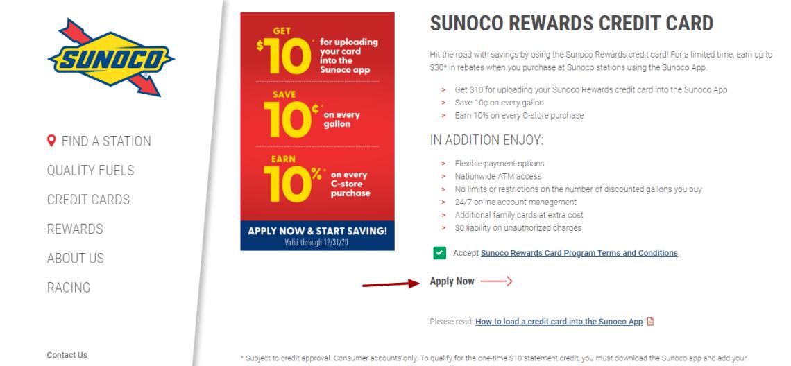 Sunoco Credit Card Apply