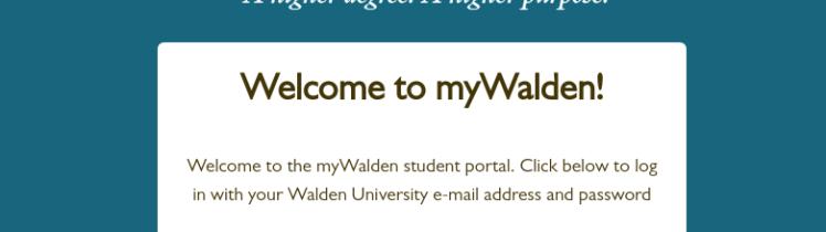 myWalden Student Portal login