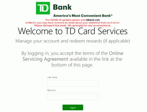TD Credit card login