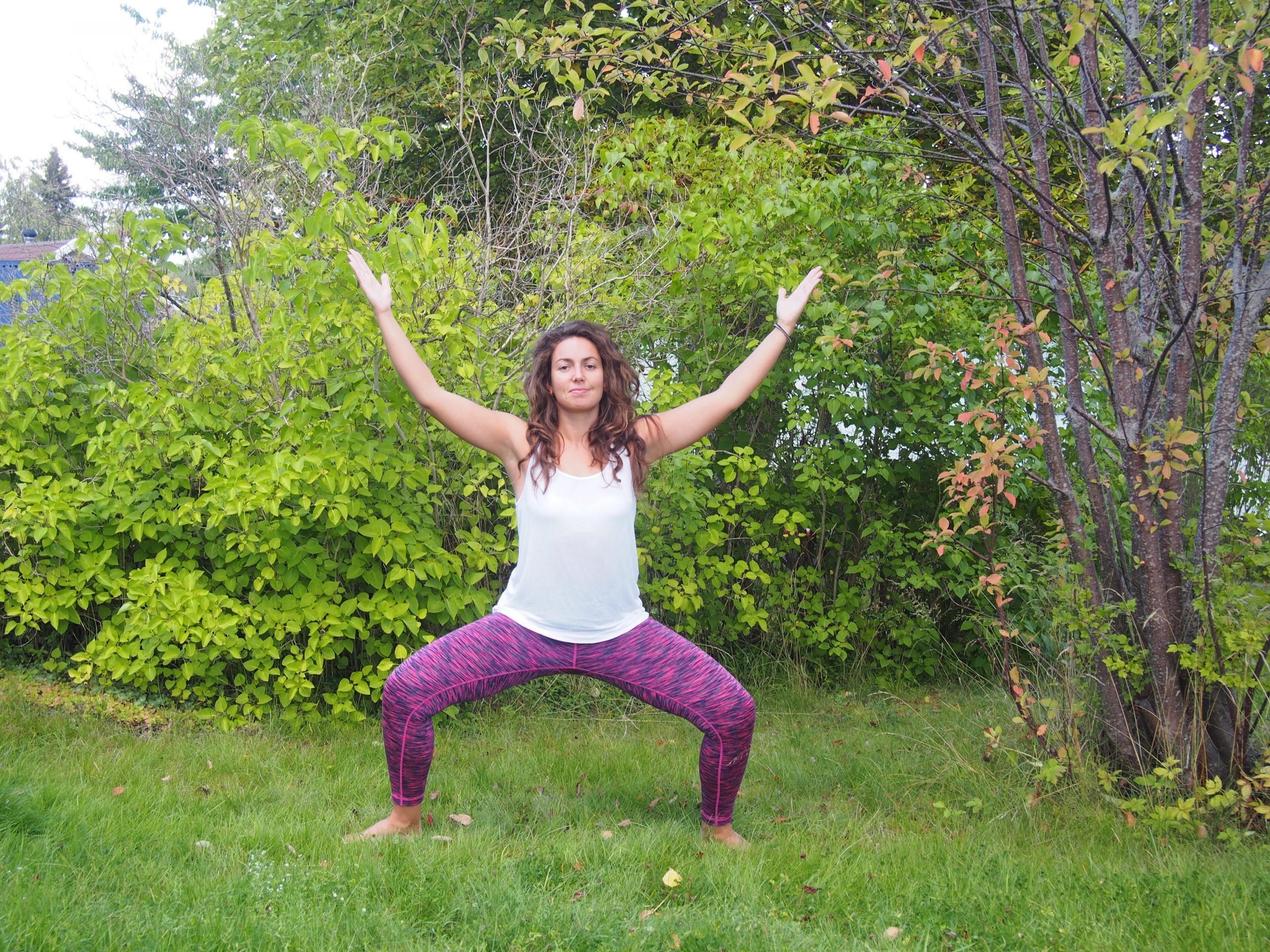 Utkata Konasana, goddess pose, yoga for sacral chakra, yoga for creativity, increase creativity, increase libido