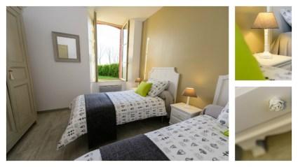 deuxième chambre du Logis de Villegruis avec vue sur jardin. deux lits simples confortables grande armoire et décoration cosy