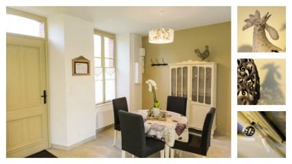 Logis de Villegruis : un espace repas convivial, pour partager un repas, discuter, s'adonner à la lecture ou à un jeu de société, s'installer confortablement autour de la table et se connecter à internet