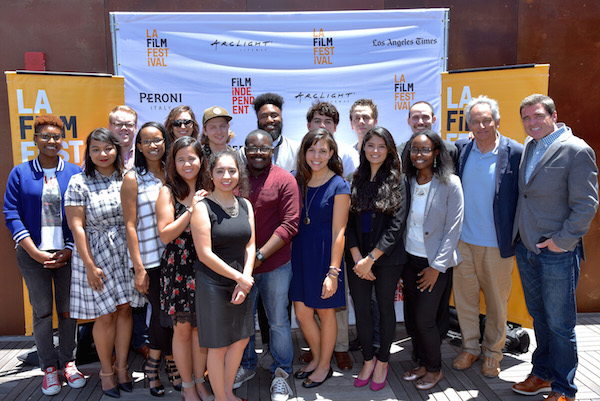 CULVER CITY, CA - JUNE 04: (Back Row) Issa Rae, Morten Forland, Dani Shank, Taylor Zann, Terrence Johnson, Cruz Quinonz, Chase Mohseni, Bret Polish, Steve Uljaki, President of Film Independent Josh Welch (Front Row) Maliyam Mahvud, Limaire Anderson, Liz Tapang, Unidentified, Terrence Grant, Samantha McRoberts, Emily Aguilar, Raeesah Reese attend the Diversity Speaks Brunch during the 2016 Los Angeles Film Festival on June 4, 2016 in Culver City, California. (Photo by Benjamin Marker/WireImage)