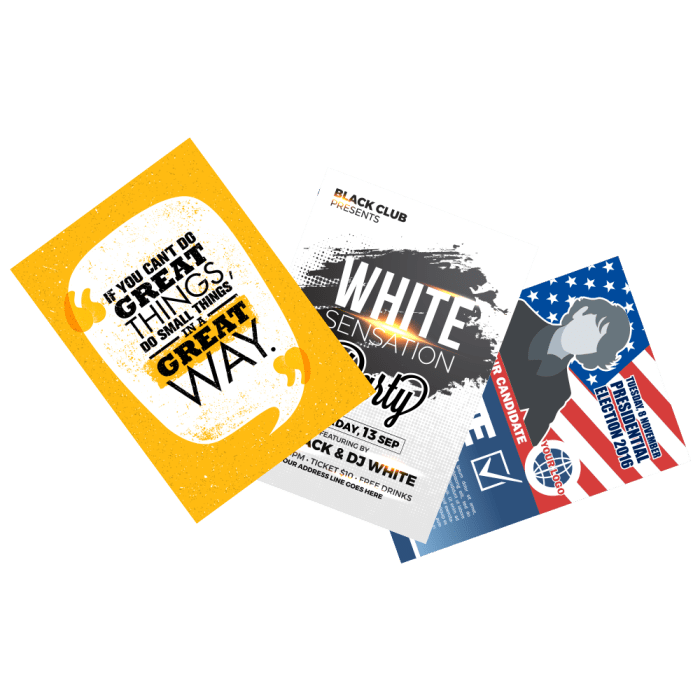 brochures yellow white and us