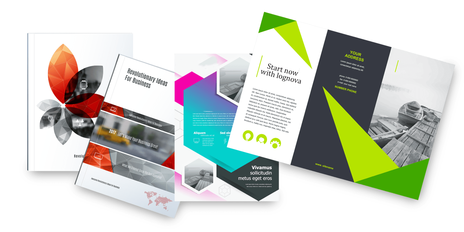 different brochures and printed ads isolated transparent background