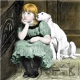 Dog Adoring Girl Victorian Painting Sympathy date:1877 Prints, Cards, Trays, Buttons, Stickers, Magnets, and more!