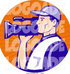 clipart of a white camera man in blue uniform filming in an orange sun ray circle logo [ 1024 x 1044 Pixel ]