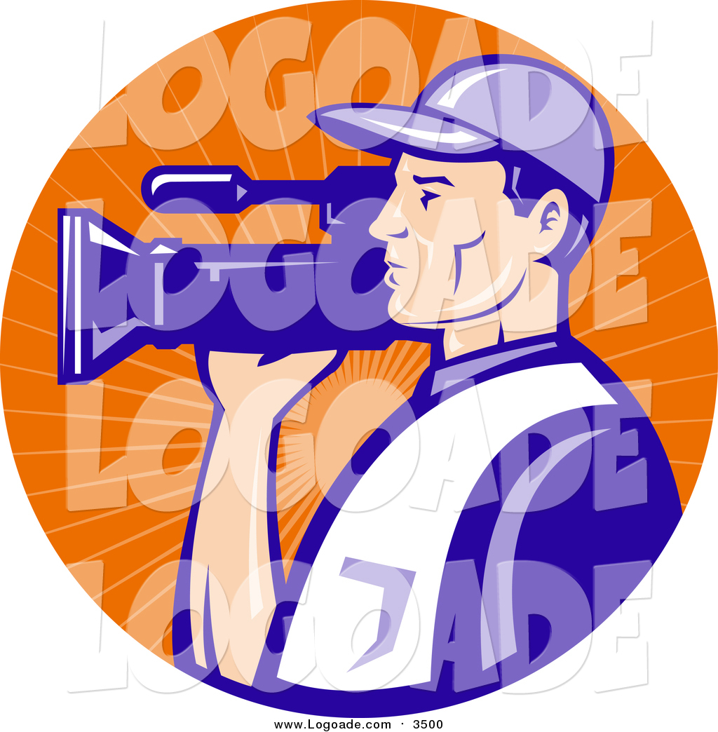 hight resolution of clipart of a white camera man in blue uniform filming in an orange sun ray circle logo