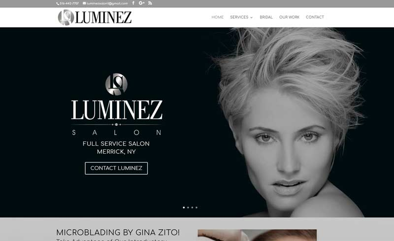 Luminez Salon website design