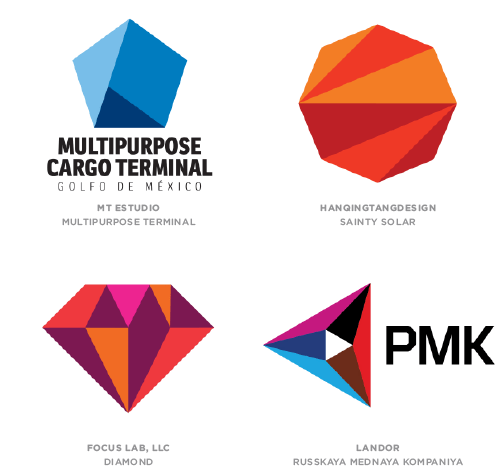 Flat Facets Marks trend logo examples