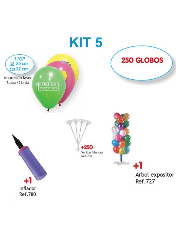 250 Globos personalizados impresos a 1 cara a 1 color + Inflador + 250 Varillas blancas + Árbol expositor (Kit 5)