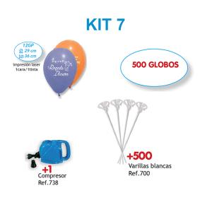 500 Globos personalizados impresos a 1 cara a 1 color + compresor de aire + 500 Varillas blancas + (Kit 7)