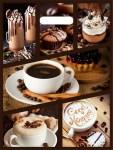 Купить оптом полиэтиленовый пакет Кофейный коллаж с прорубной (вырубной) ручкой 31x40 60 мкм от Тико