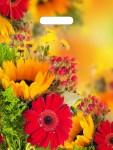 Купить оптом полиэтиленовый пакет Осенние цветы с прорубной (вырубной) ручкой 31x40 60 мкм от Тико