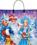 Купить оптом новогодний пакет Дед Мороз и Снегурочка Люкспласт 36x36 34x36 80 мкм с пластиковой ручкой ПЛРЛ