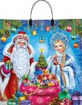 Купить оптом новогодний пакет Пара Люкспласт 40x40 100 мкм с пластиковой ручкой ПЛРЛ