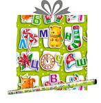 Бумага оберточная в рулоне 0,685х1м Азбука Деда-Мороза, купить оптом в Санкт-Петербурге