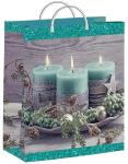 Купить оптом полиэтиленовый пакет Бирюзовые свечи 24х26 140 мкм из мягкого пластика