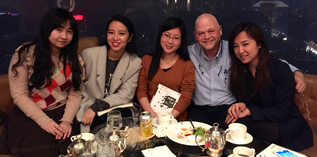 2014 grads of the NYU MS in PR/CC. L to R, Iris Wenting Xue, Ci Song, Judy Zhu, and Ada Yang.  (I was thesis advisor to Iris and Judy)