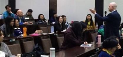 Teaching business students at Nankai University Business School