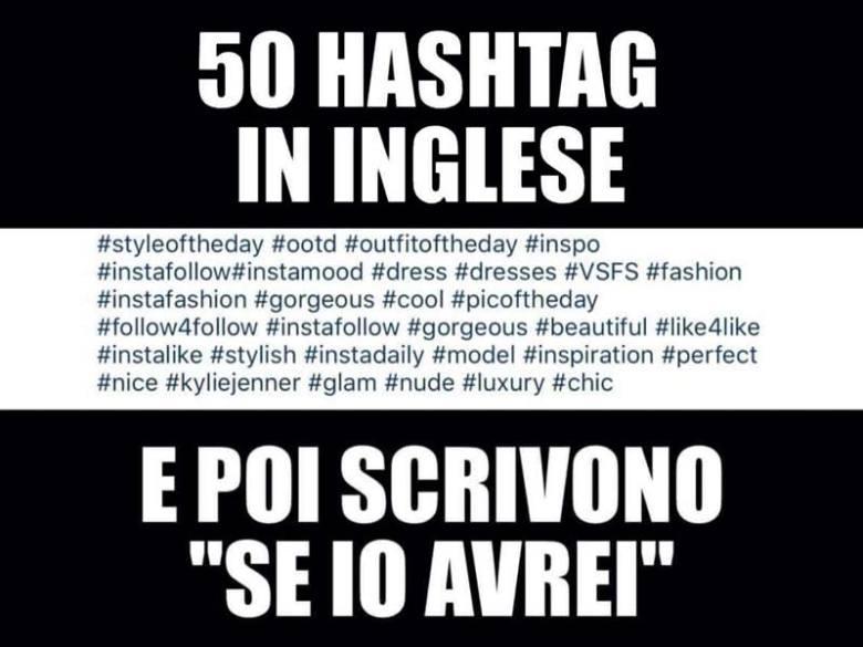 si può dire se avrei 50 hashtag in inglese logositalia