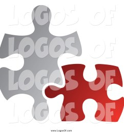 vector clipart of a red and gray jigsaw puzzle pieces connecting logo [ 1024 x 1044 Pixel ]
