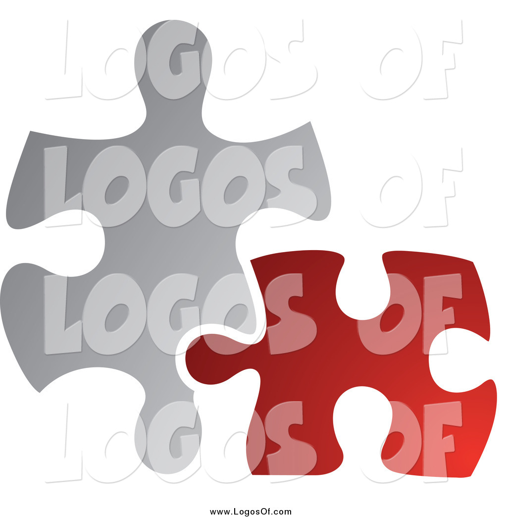 hight resolution of vector clipart of a red and gray jigsaw puzzle pieces connecting logo
