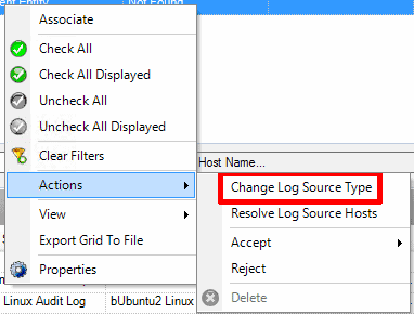 Setting the log source type for the new log source in LogRhythm Deployment Manager.