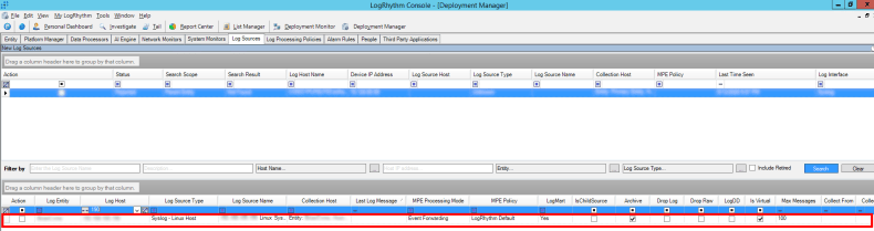 View after successfully adding the log source in the LogRhythm Console